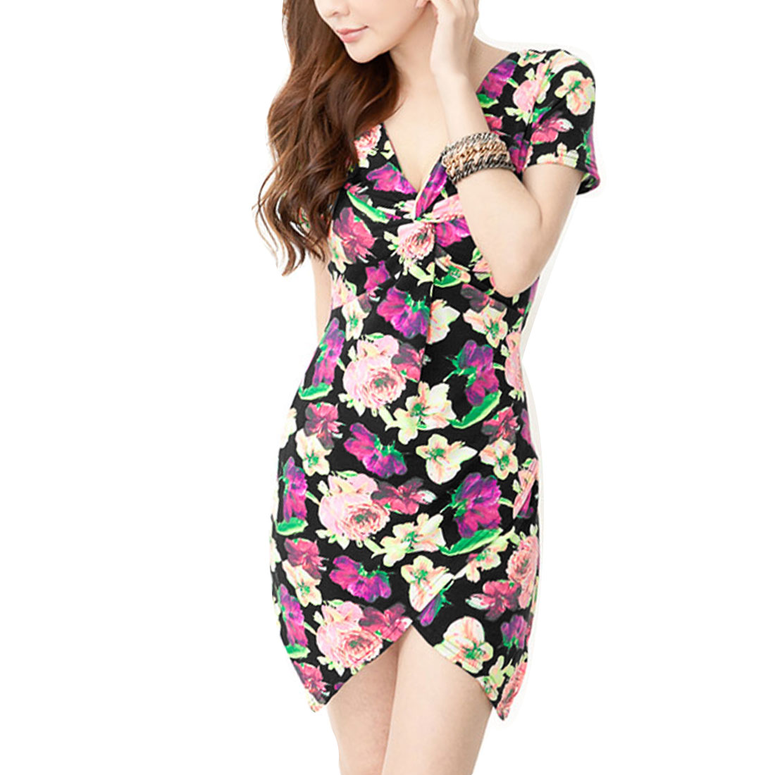 Women Floral Prints Dipper Hem Above Knee Fashion Dress Pink XS