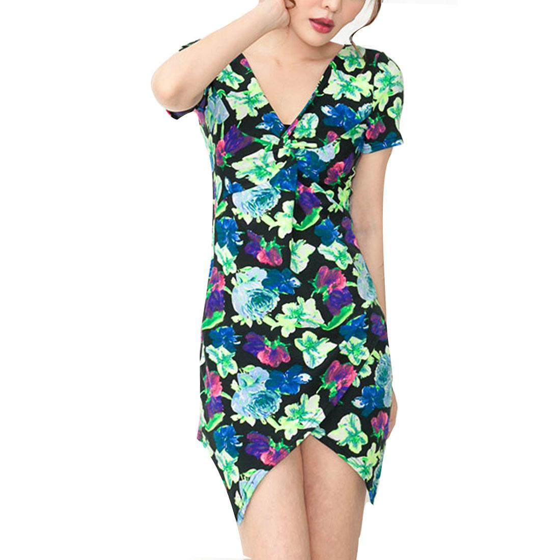 Ladies V Neck Short Sleeve Floral Prints Modern Dress Green XS