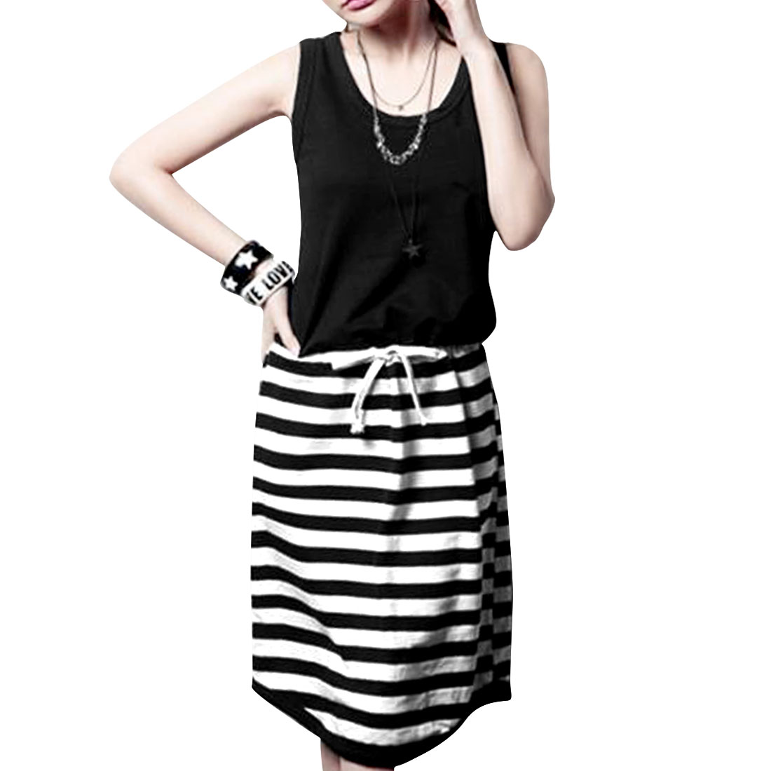 Ladies Horizontal Striped Pocket Round Neck Casual Dress White Black XS