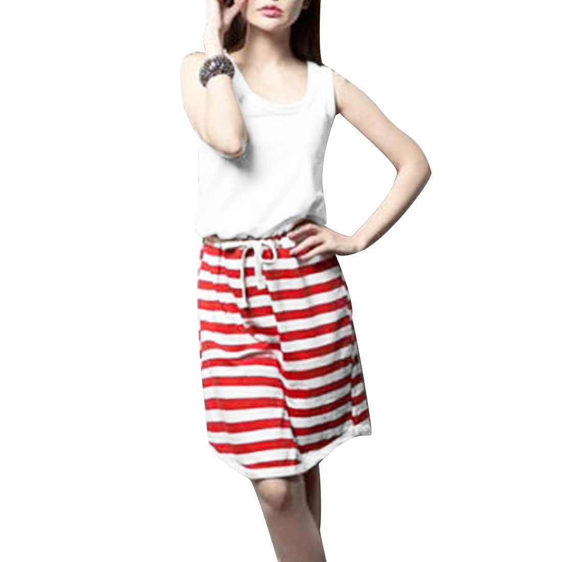 Ladies Thigh High Stripes Round Neck Drawstring Dress Red White XS