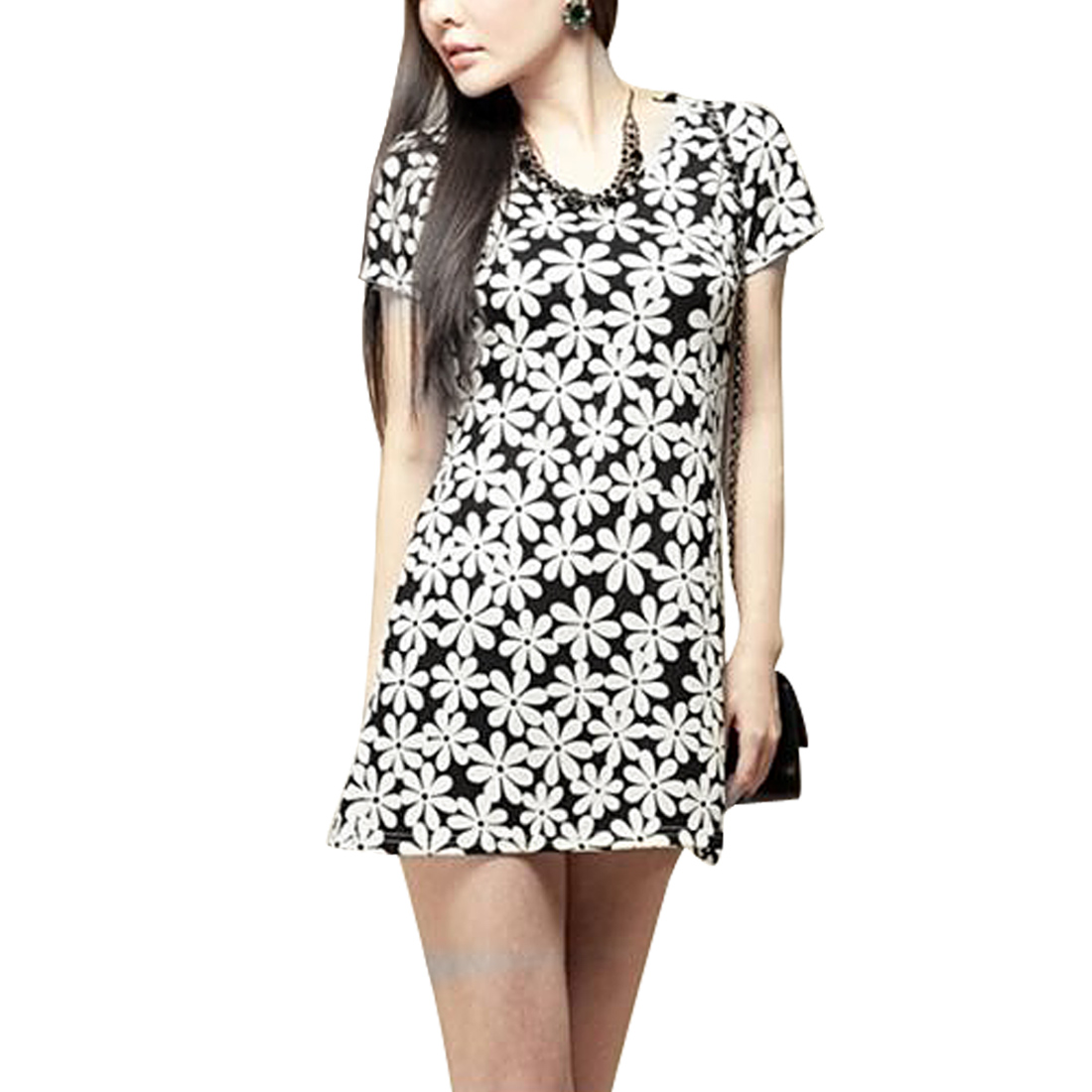 Ladies Short Sleeve A Line Textured Chiffon Elegant Dress White XS