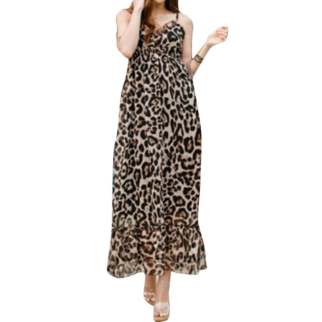 Women Leopard Pattern Deep V Neck Design Spaghetti Strap Dress XS Black