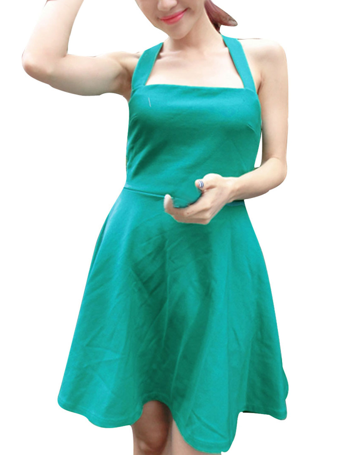 Woman Chic Sea Green Square Neck Shoulder Straps Design Mini Dress XS