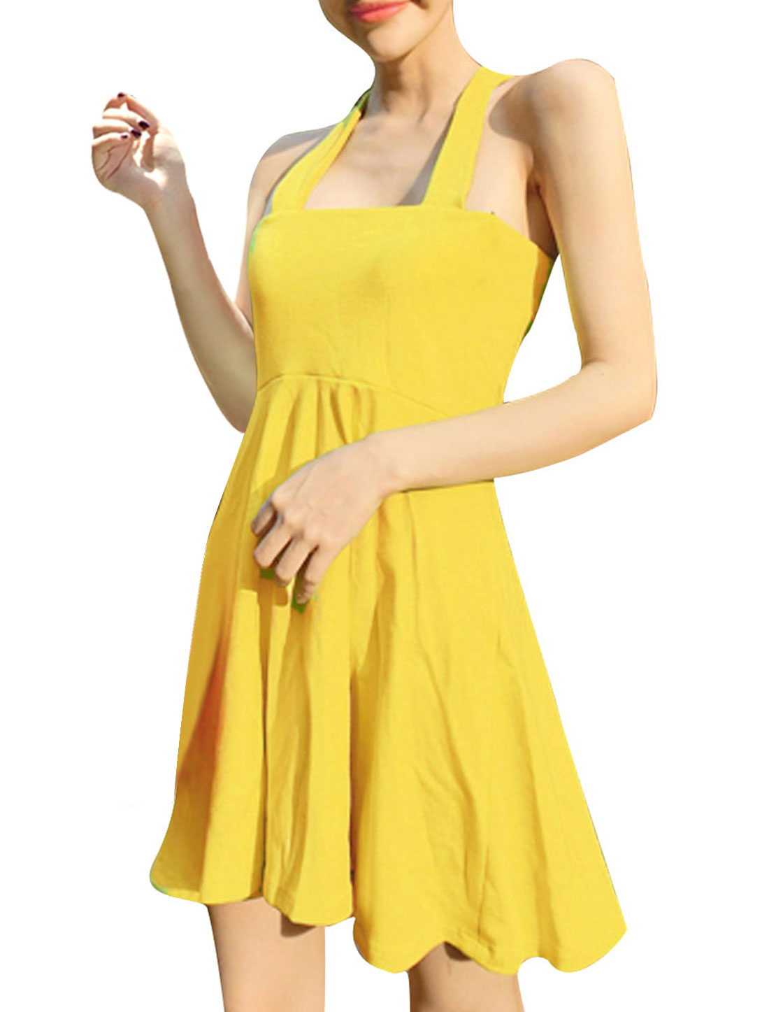 Ladies Shoulder Straps Design Cross Back Fit-and Flare Yellow Mini Dress XS
