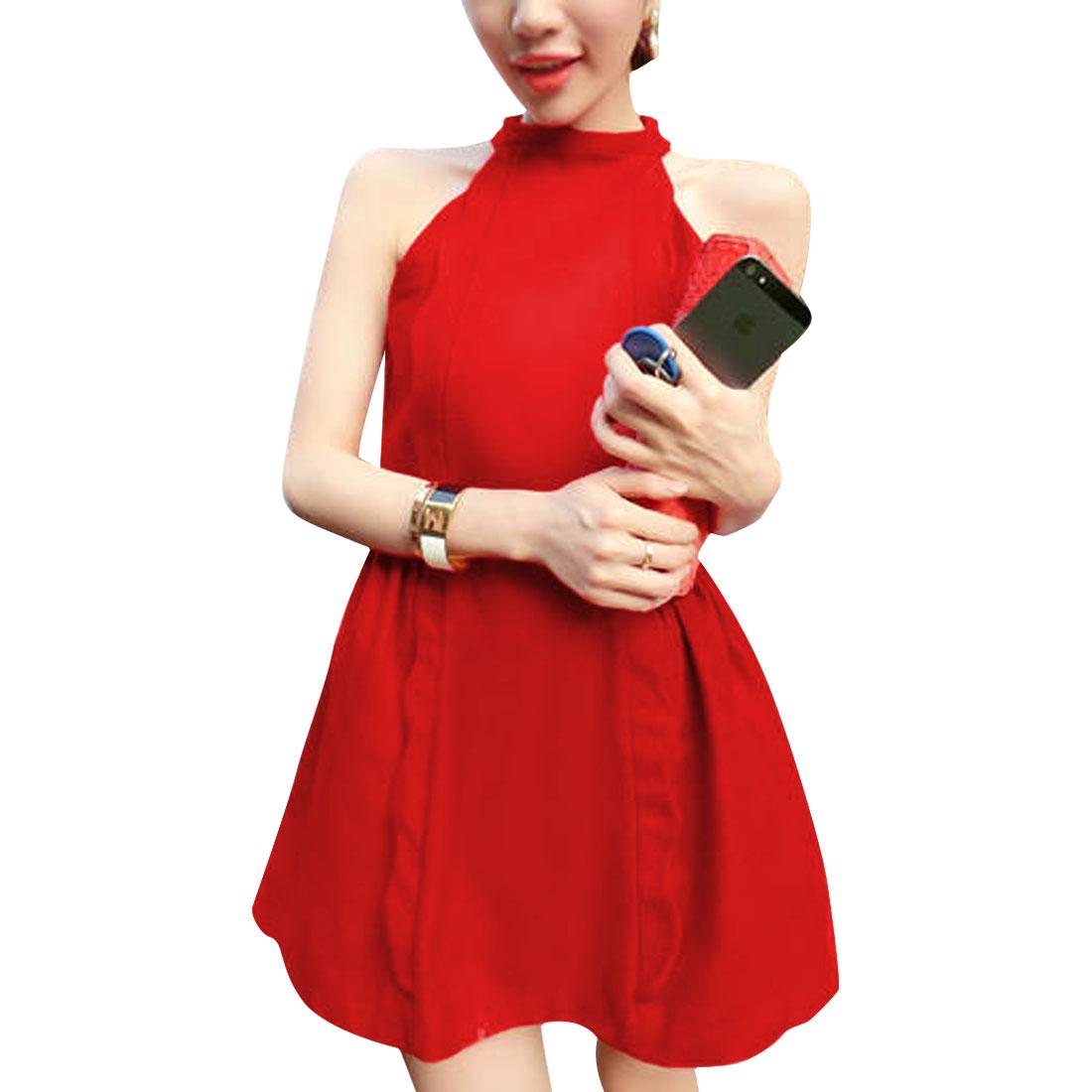 Women Off Shoulder Design Turtle Neck Solid Color Elegant Dress Red S