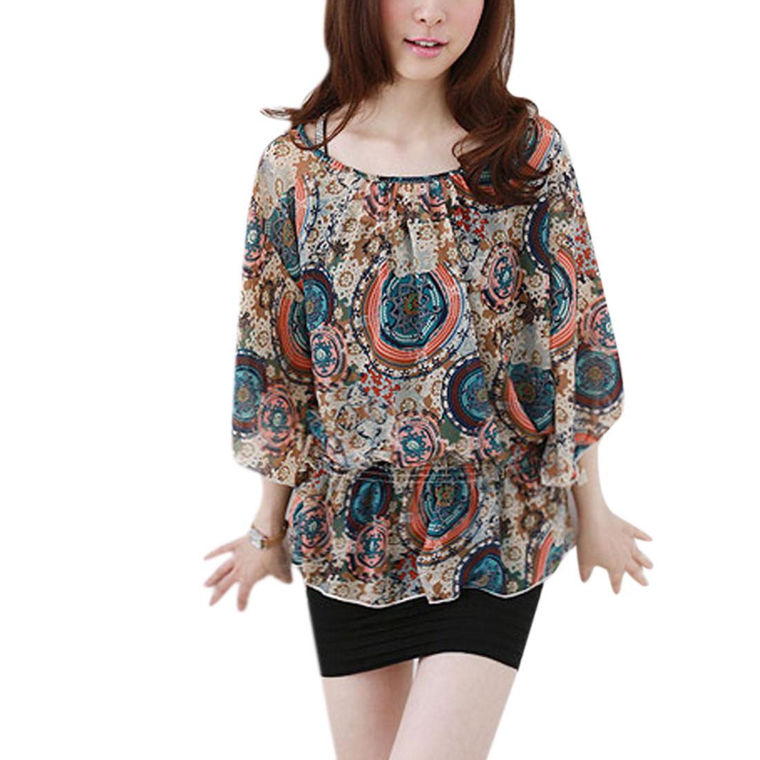 Women Round Neck Elastic Waist Kimono Sleeve Shirt Multicolor XS