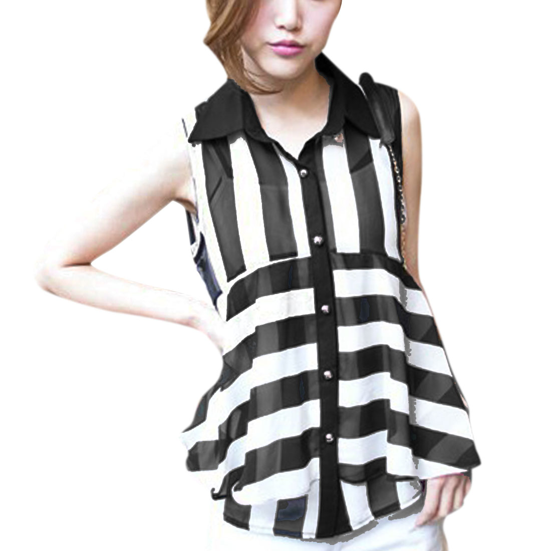 Lady Black White Stripes Asymmetrical Hem Sleeveless Semi Sheer Top XS