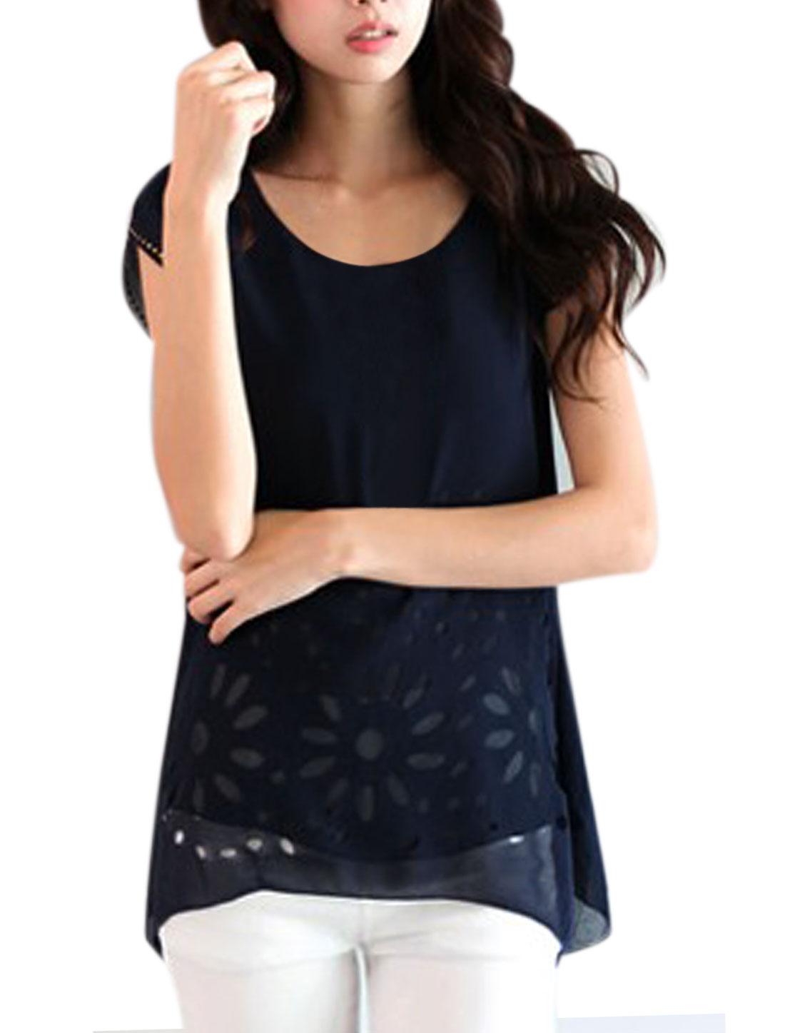 Lady Dark Blue Round Neck Short Sleeve Asymmetrical Hem Chiffon Top XS