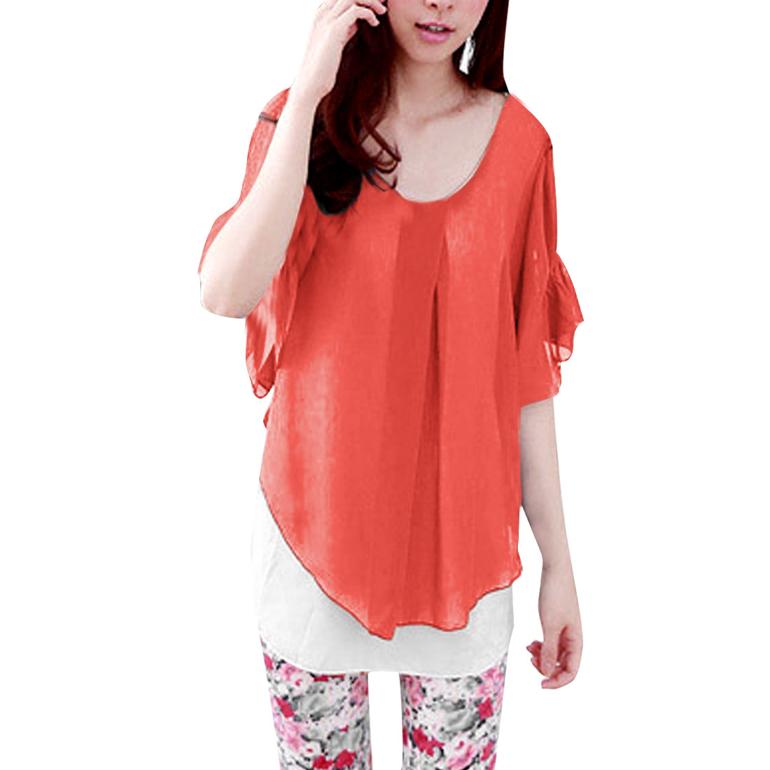 Ladies Newly Elastic Short Bell Sleeve Chiffon Splice Watermelon Red Blouse XS