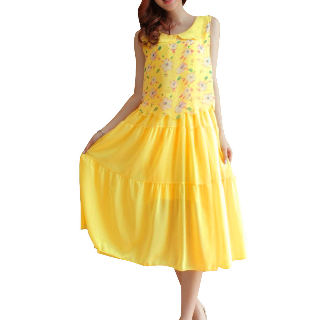 Woman Chic Peter Pan Collar Floral Prints Elastic Waist Yellow Dress XS