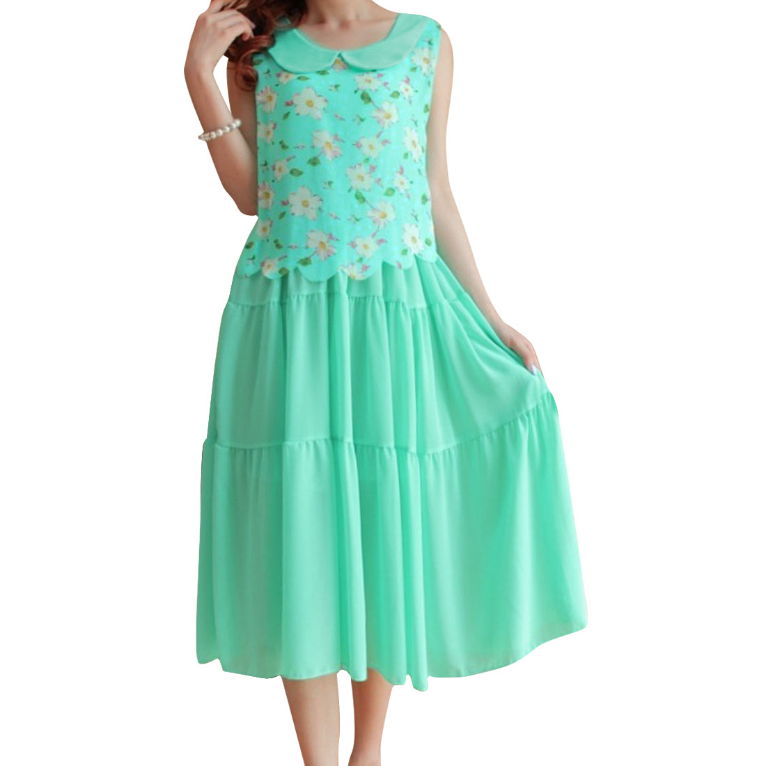 Ladies Mint Doll Collar Sleeveless Floral Pattern Splice Mid-Calf Dress XS