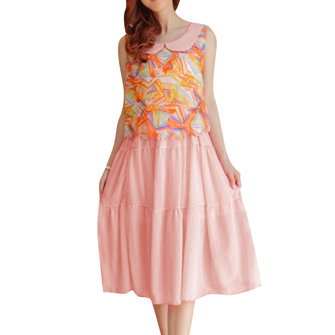 Lady Doll Collar Novelty Prints Elastic Waist Pink Color Mid-Calf Dress XS