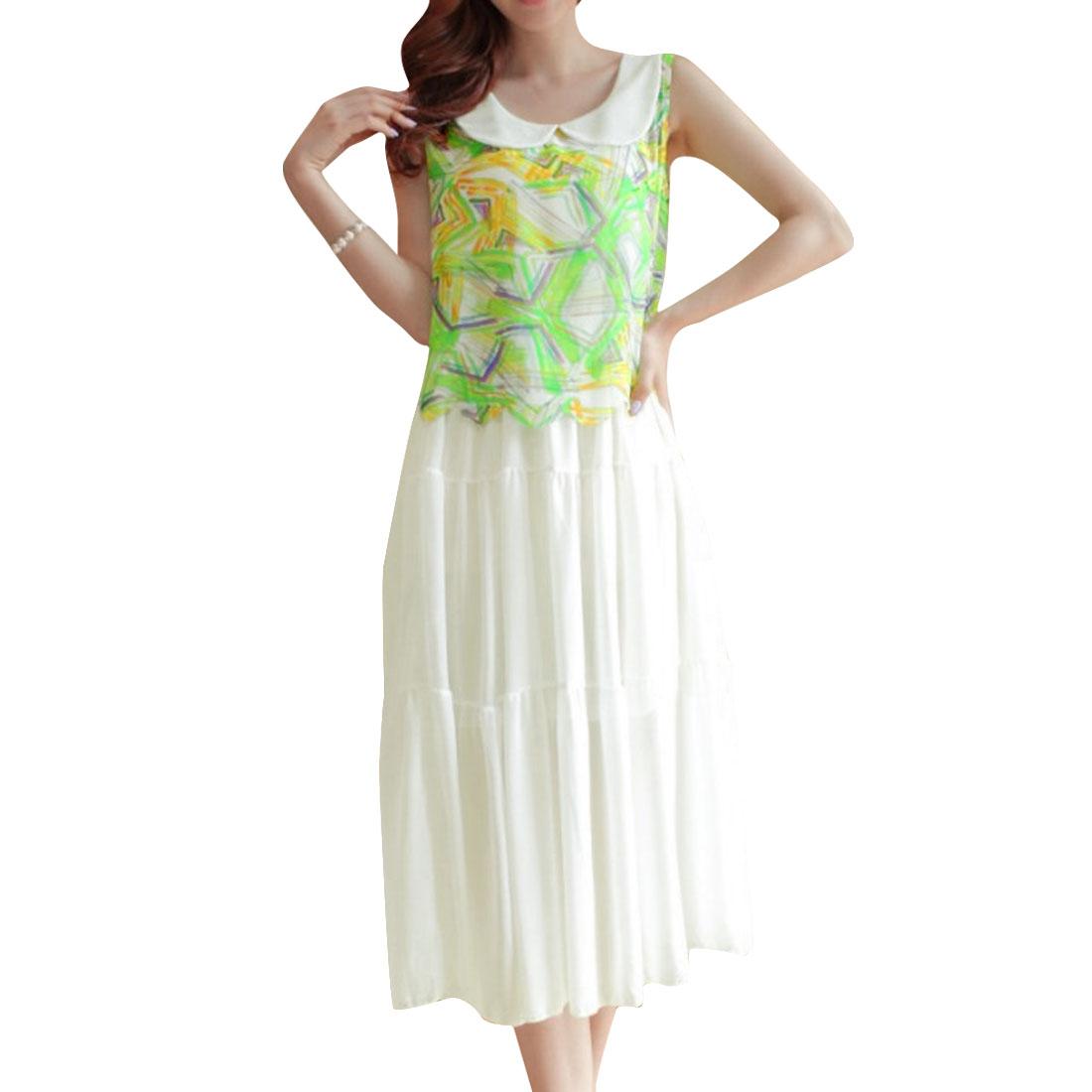 Woman Peter Pan Collar Sleeveless Novelty Prints Splice White Mid-Calf Dress XS