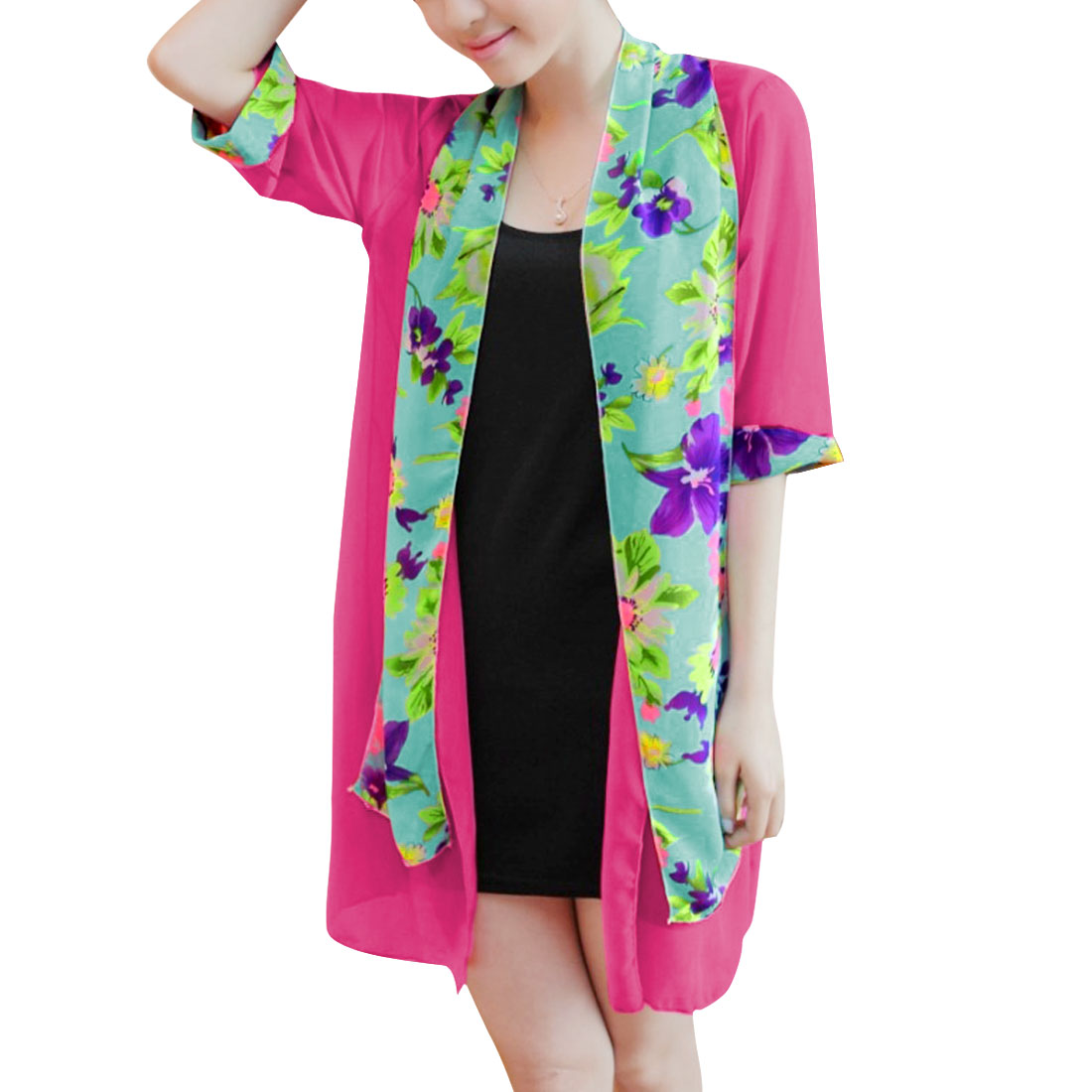 Ladies Layered Split Hem Chiffon Fashion Shirt Fuchsia S