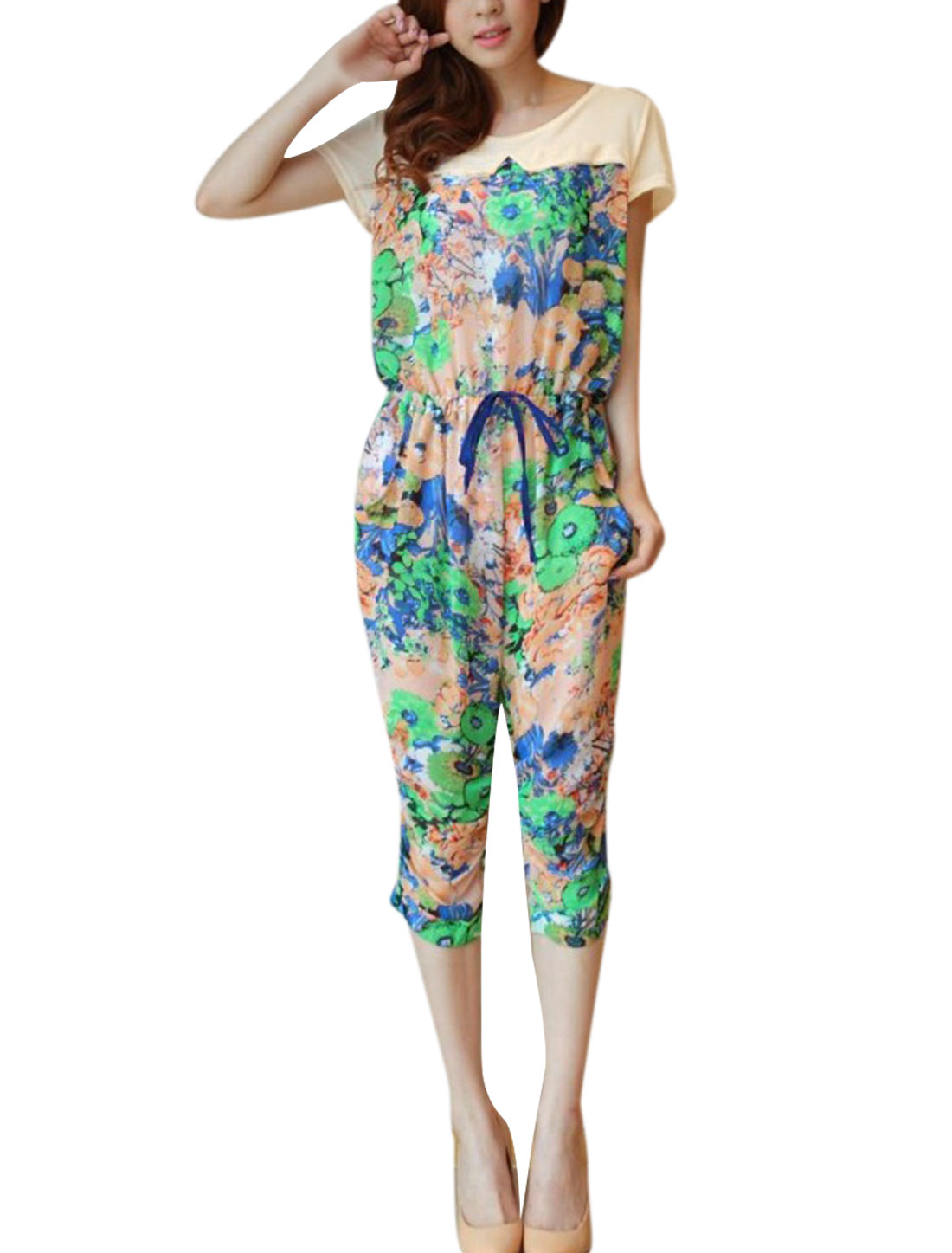 Lady Yellow Elastic Waist Floral Pattern Round Neck Jumpsuit S