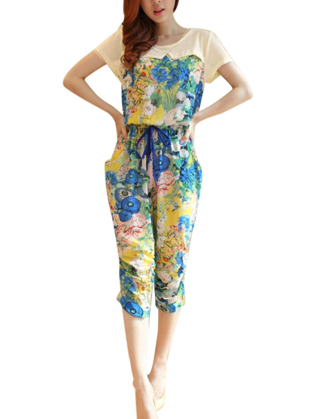 Lady Pink Floral Pattern Back Zipper Ruffled Trouser Legs Jumpsuit S