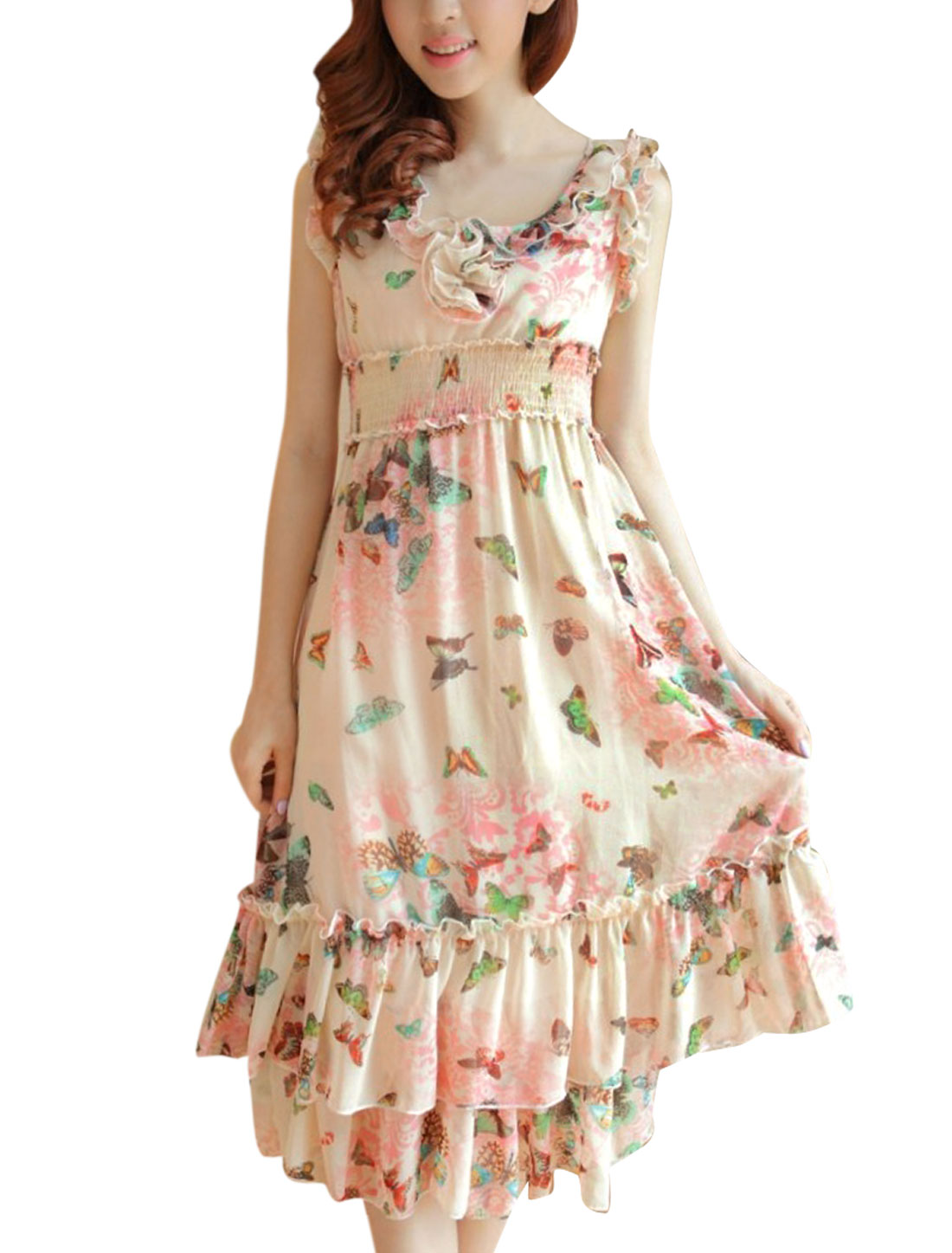 Lady Butterfly Pattern Smocked Waist Chiffon Dress Beige Light Pink XS