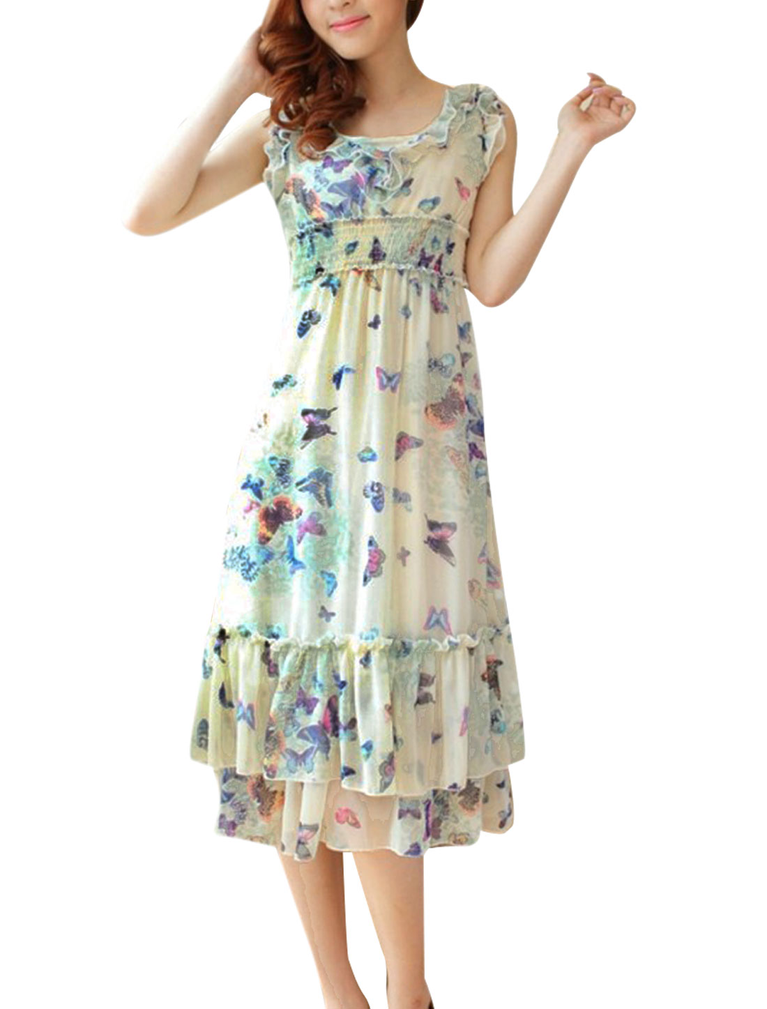 Lady Sleeveless Semi-sheer Butterfly Pattern Tiered Dress Beige Light Green XS