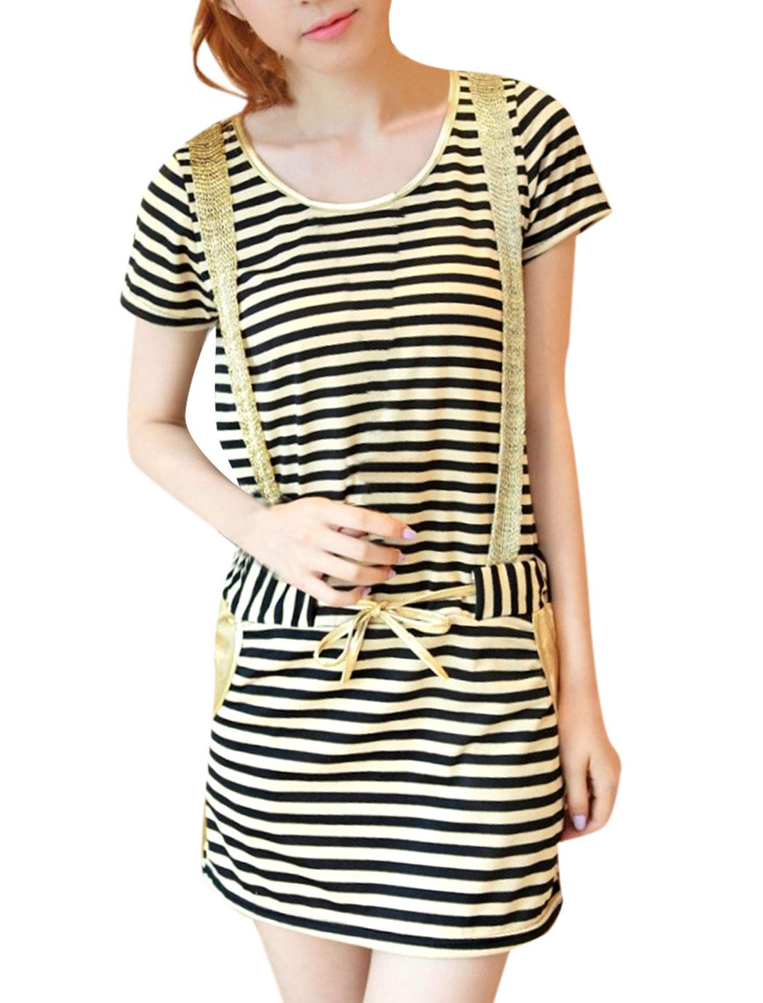 Lady Beige Black Stripes Round Neck Short Sleeve Slant Pocket Dress XS