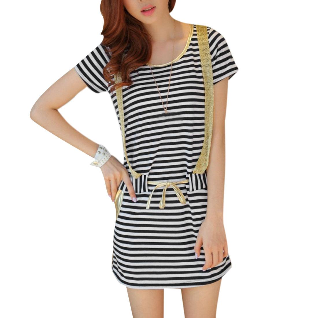 Lady White Black Stripes Self Tie Drawstring Waist Pullover Dress XS