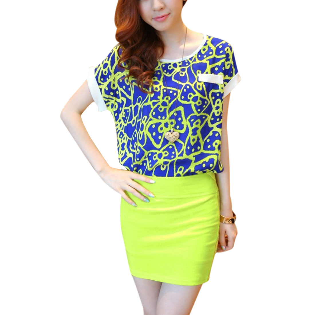Lady Blue Lime Short Sleeve Decor Chest Pocket Top W Mini Skirt XS