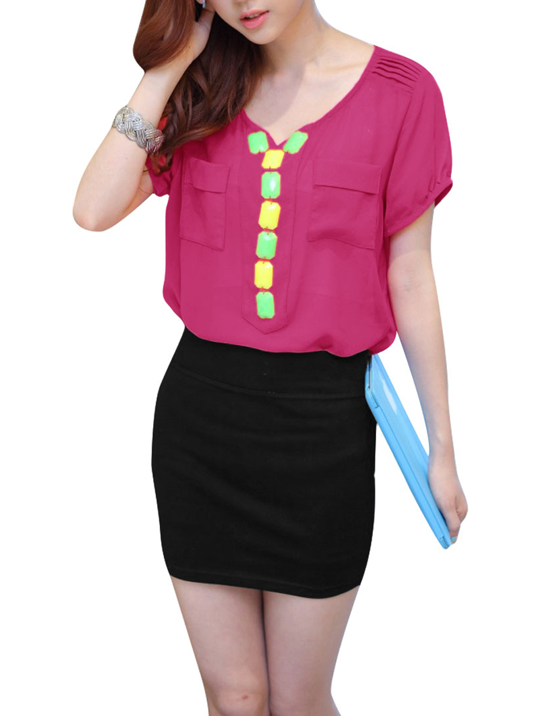 Ladies Sweetheart Neck Shirt & Elastic Waist Skirt Fuchsia Black XS