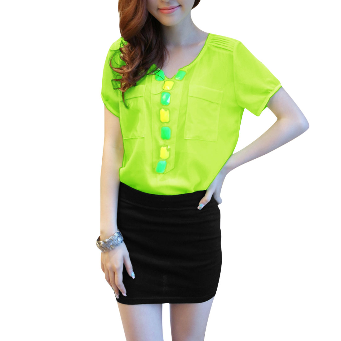 Ladies Short Sleeve Shirt & Stretchy Skirt Lime Black XS