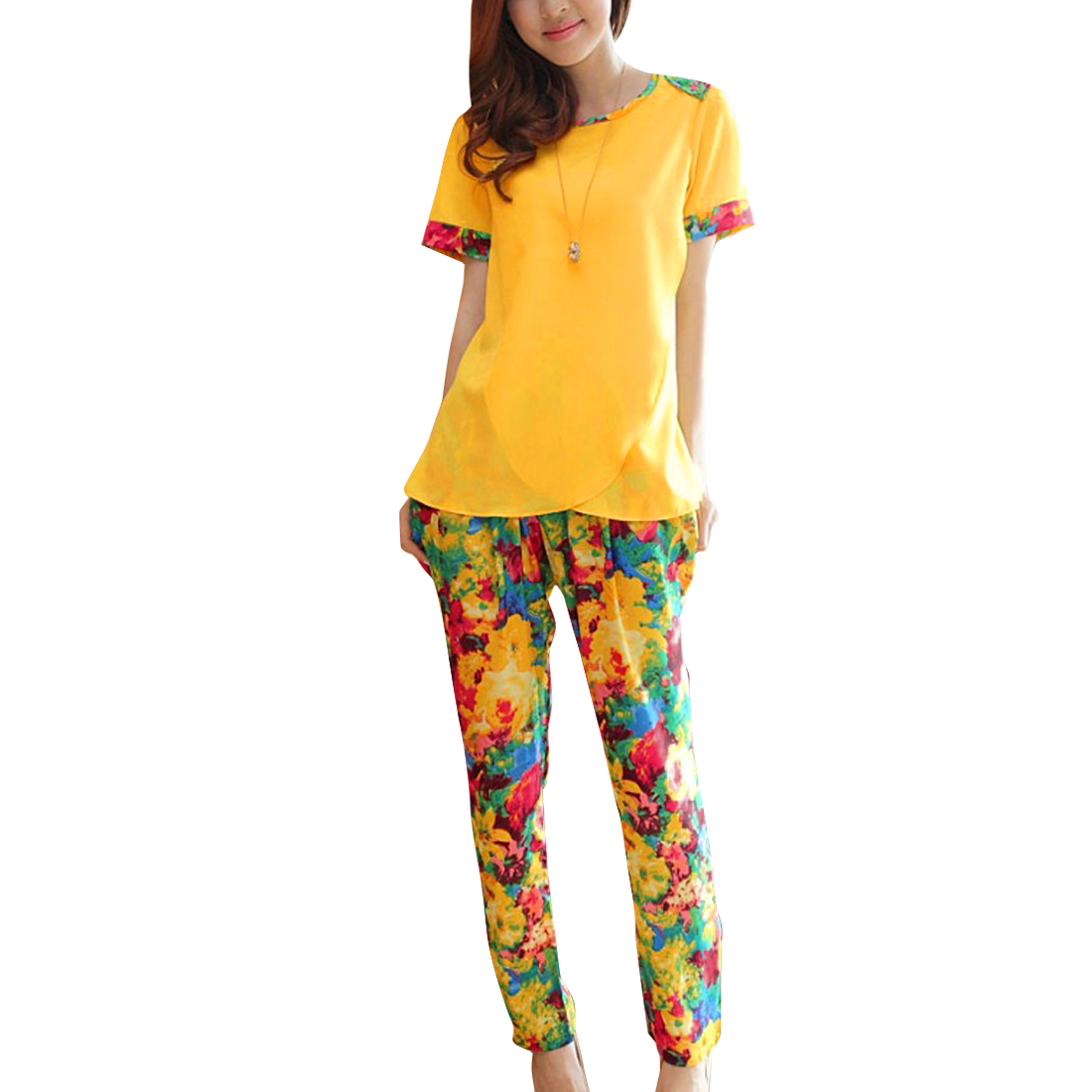 Yellow S Floral Print Round Neck Top w Multicolor Front Pockets Women Pants