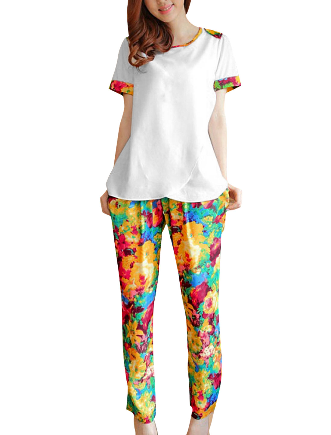 Women S White Round Neck Short Sleeve Top Shirt w Floral Pattern Pants