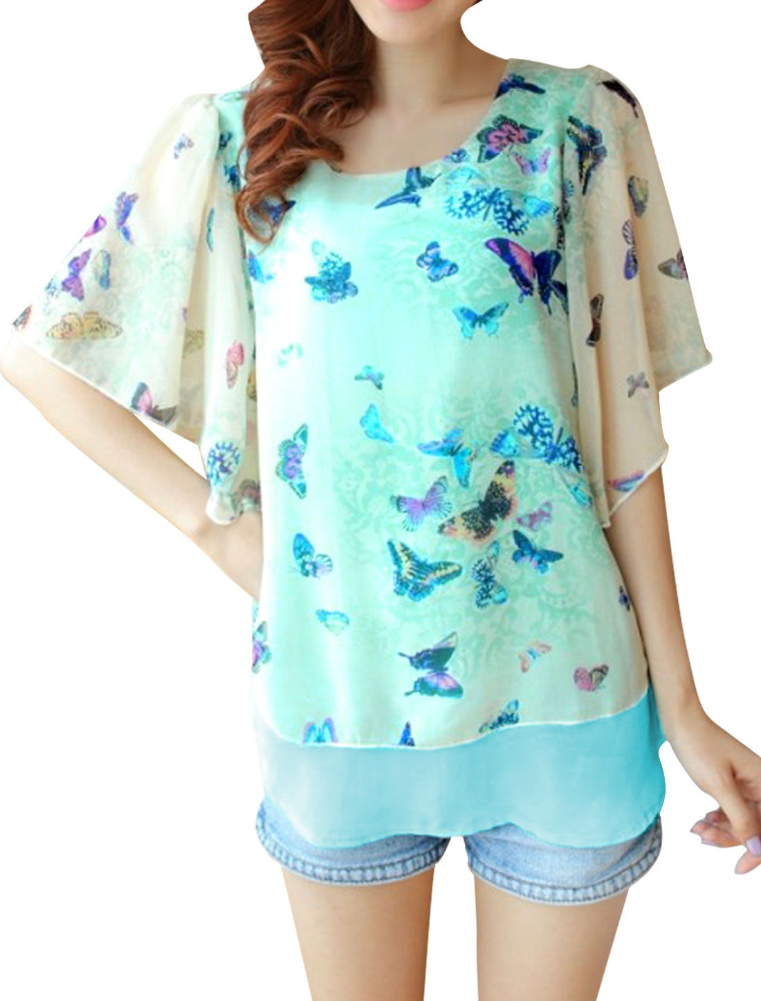 Ladies Round Neck Short Flutter Sleeve Butterfly Prints Sky Blue Blouse XS