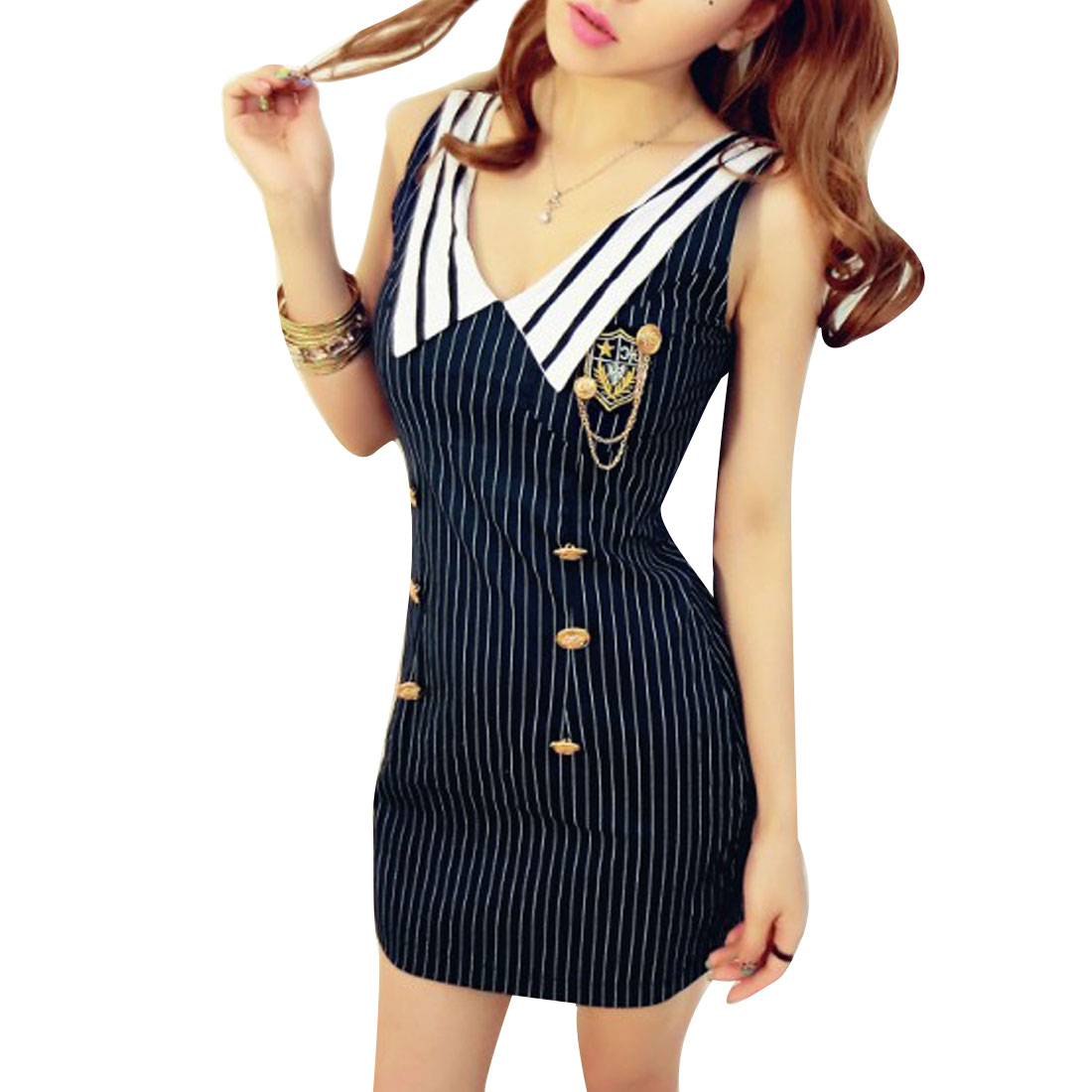 Lady Sleeveless Open Back Stripes Pattern Decor Buttoned Navy Blue Mini Dress XS