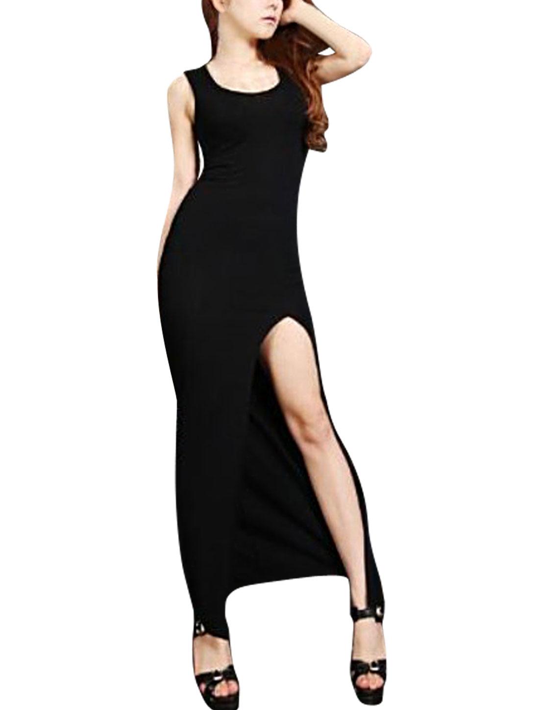 Ladies Mid-Calf Solid Color Sleeveless Elegant Dress Black XS