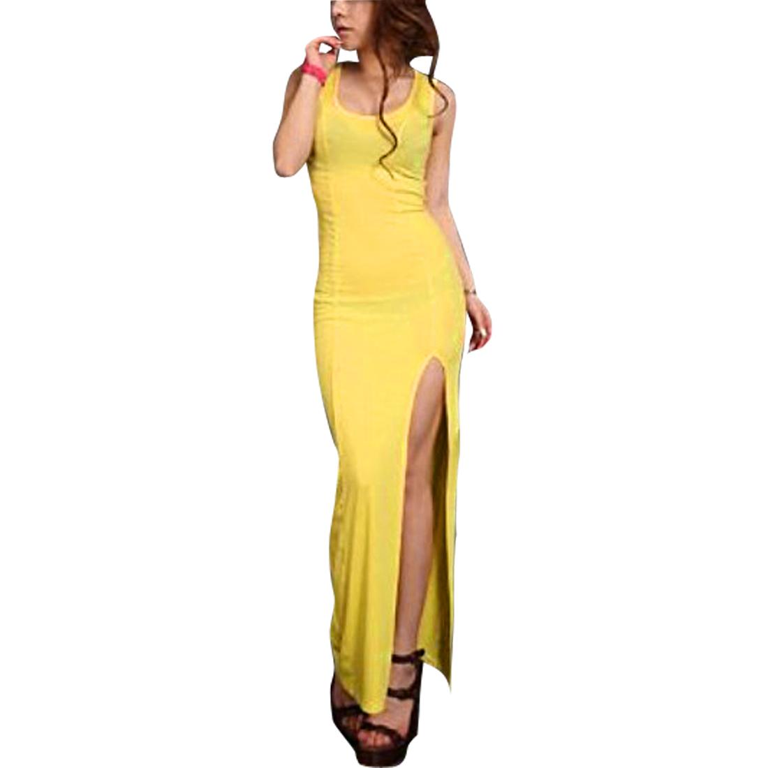 Ladies Scoop Neck Split Hem Elastic Waist Modern Dress Yellow XS