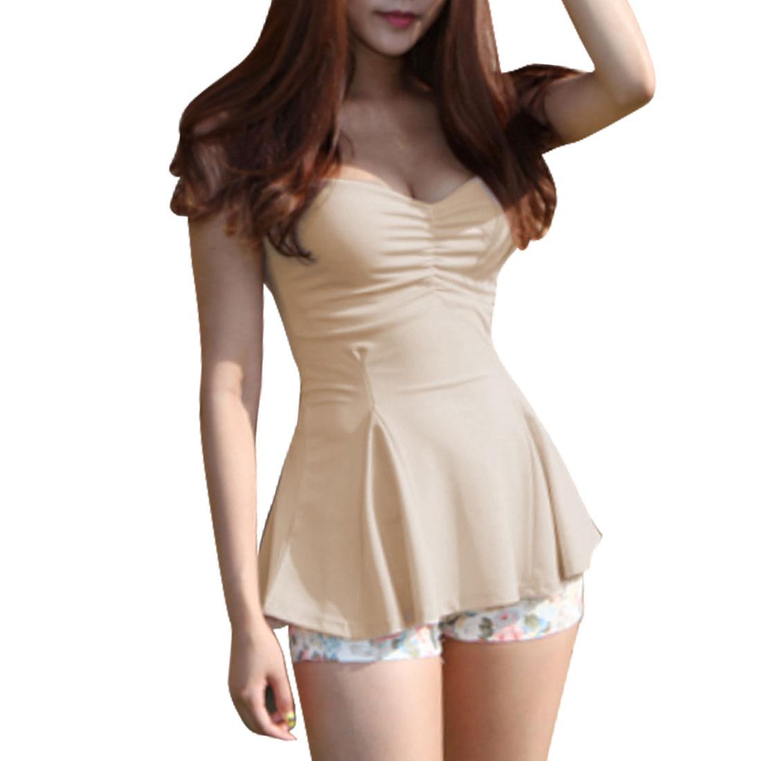 Lady Adjustable Strap U Neck Elegant Pleated Tops Shirts Apricot XS