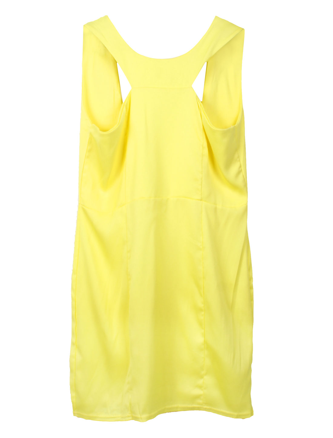 Lady Sexy Yellow Backless Design Slim Fit Mini Dress XS