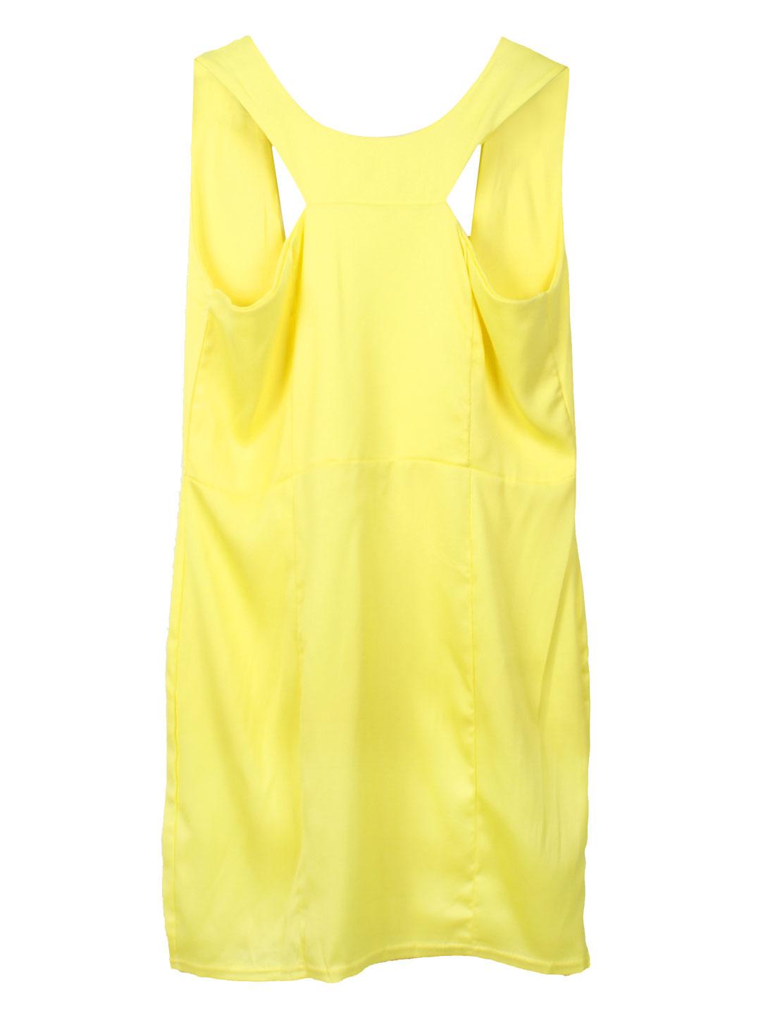 Lady Sexy Yellow Backless Design Slim Fit Mini Dress XS