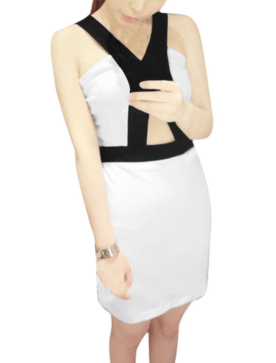 Ladies Zip Up Back Sleeveless Color Blocking Dress White XS
