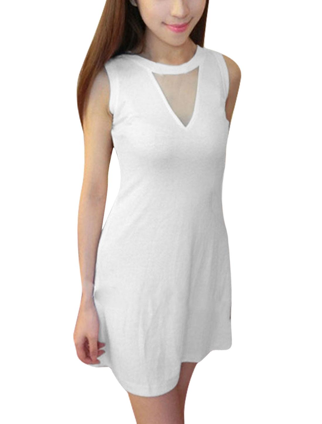 Stylish Ladies V Neck Sleeveless Stretchy Dress White XS