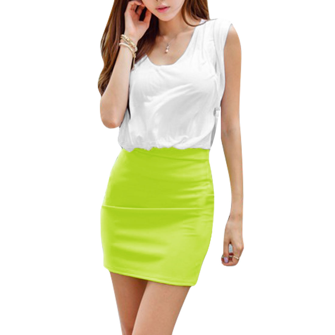 Ladies V Neck Pullover Color Blocking Dress White Lime M