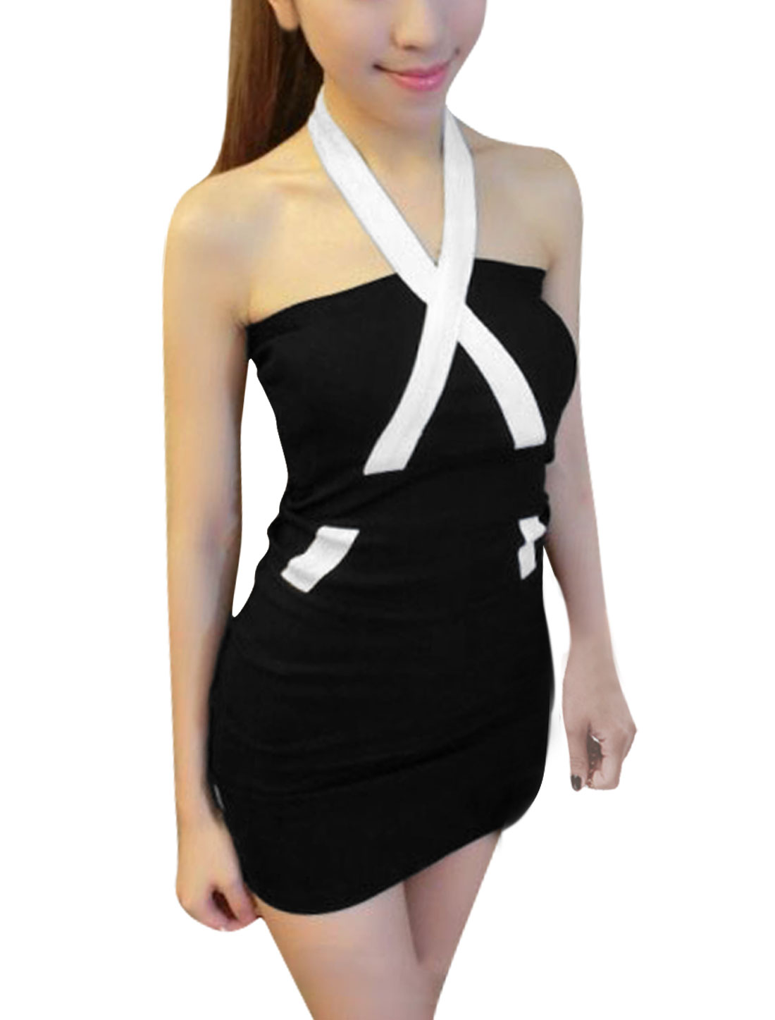 Ladies Zip Up Back Off Shoulder Casual Dress Black XS