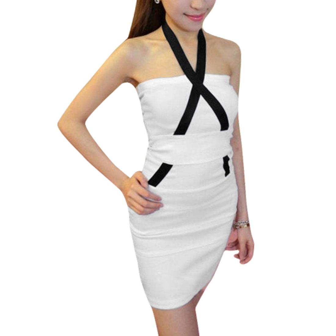 Ladies Halter Neck Sleeveless Casual Dress White XS