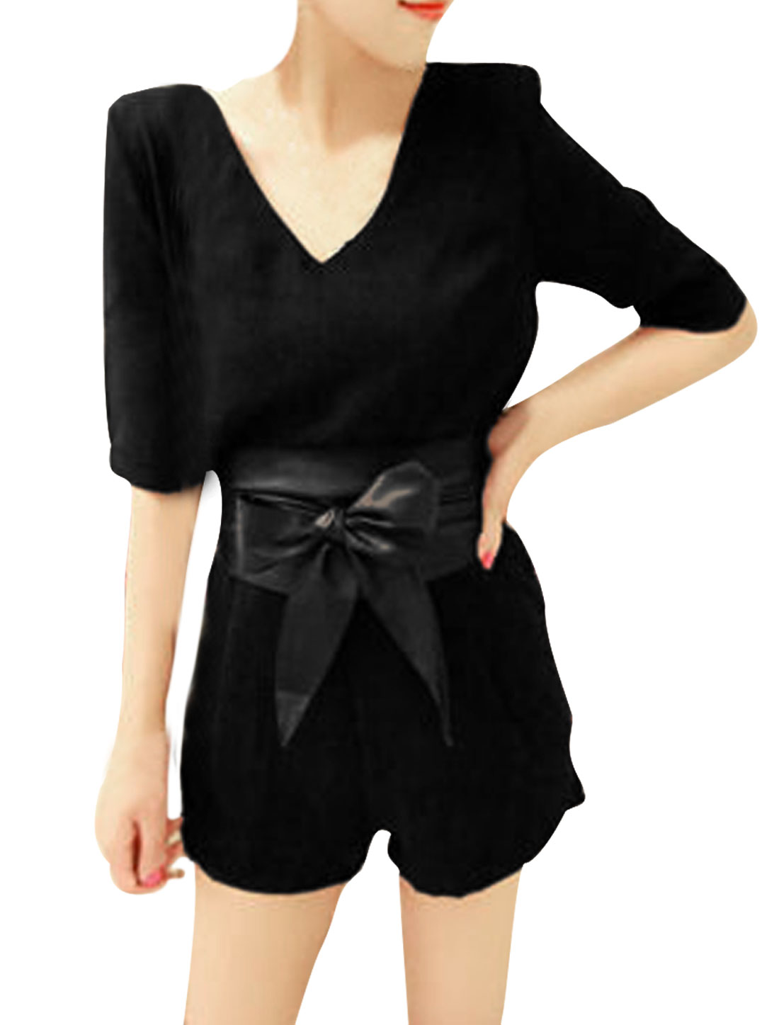 Ladies Chiffon Round Neck Short Sleeve Belt Chiffon Romper Black S