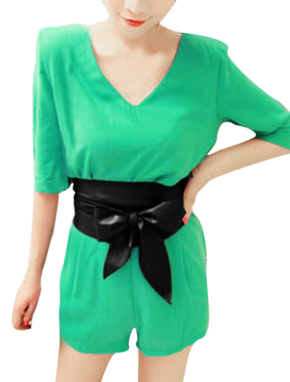 Women Elbow Sleeves V Neck Belted Chiffon Romper Green S