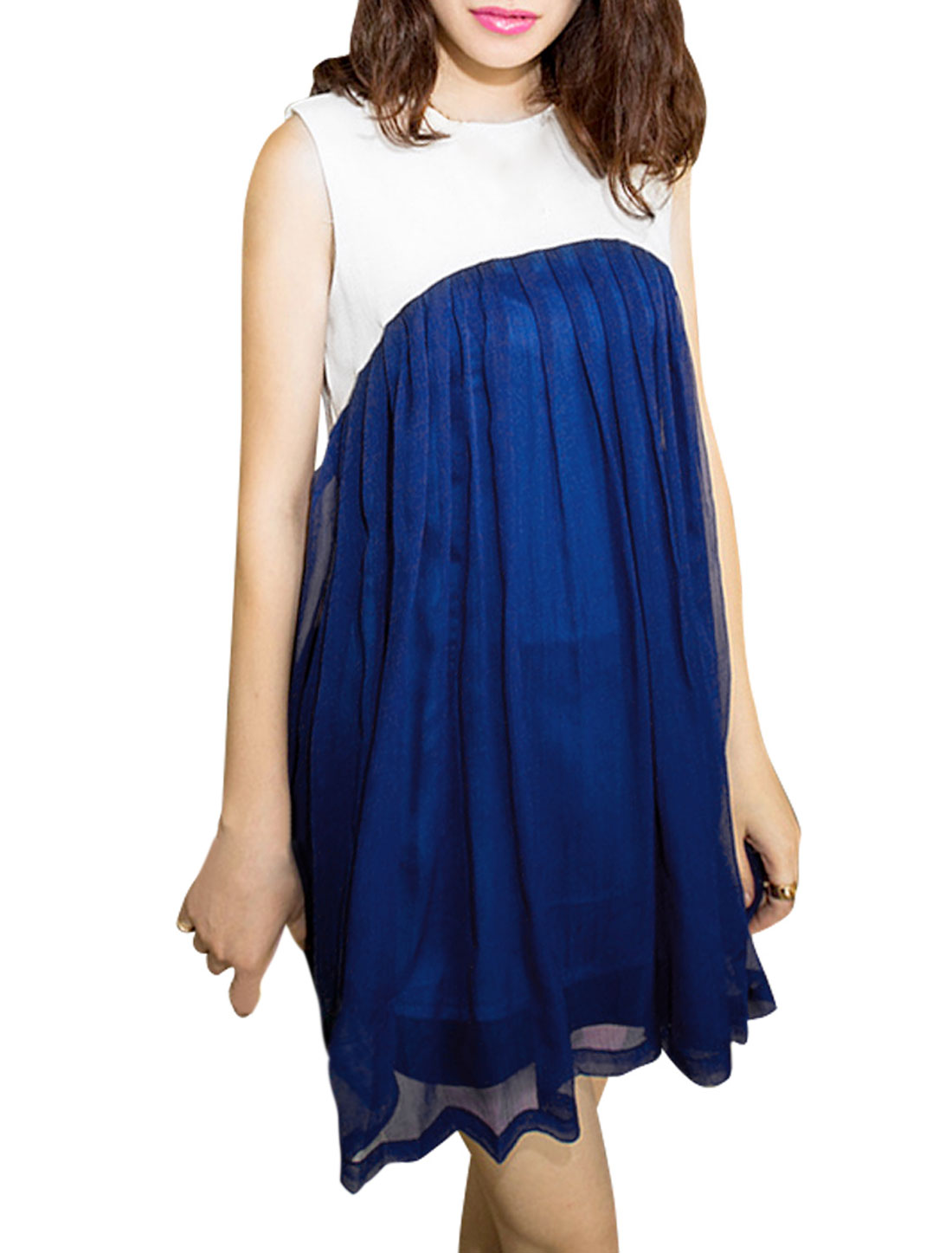 Ladies Chiffon Pleated Sleeveless A Line Elegant Dress Blue XS
