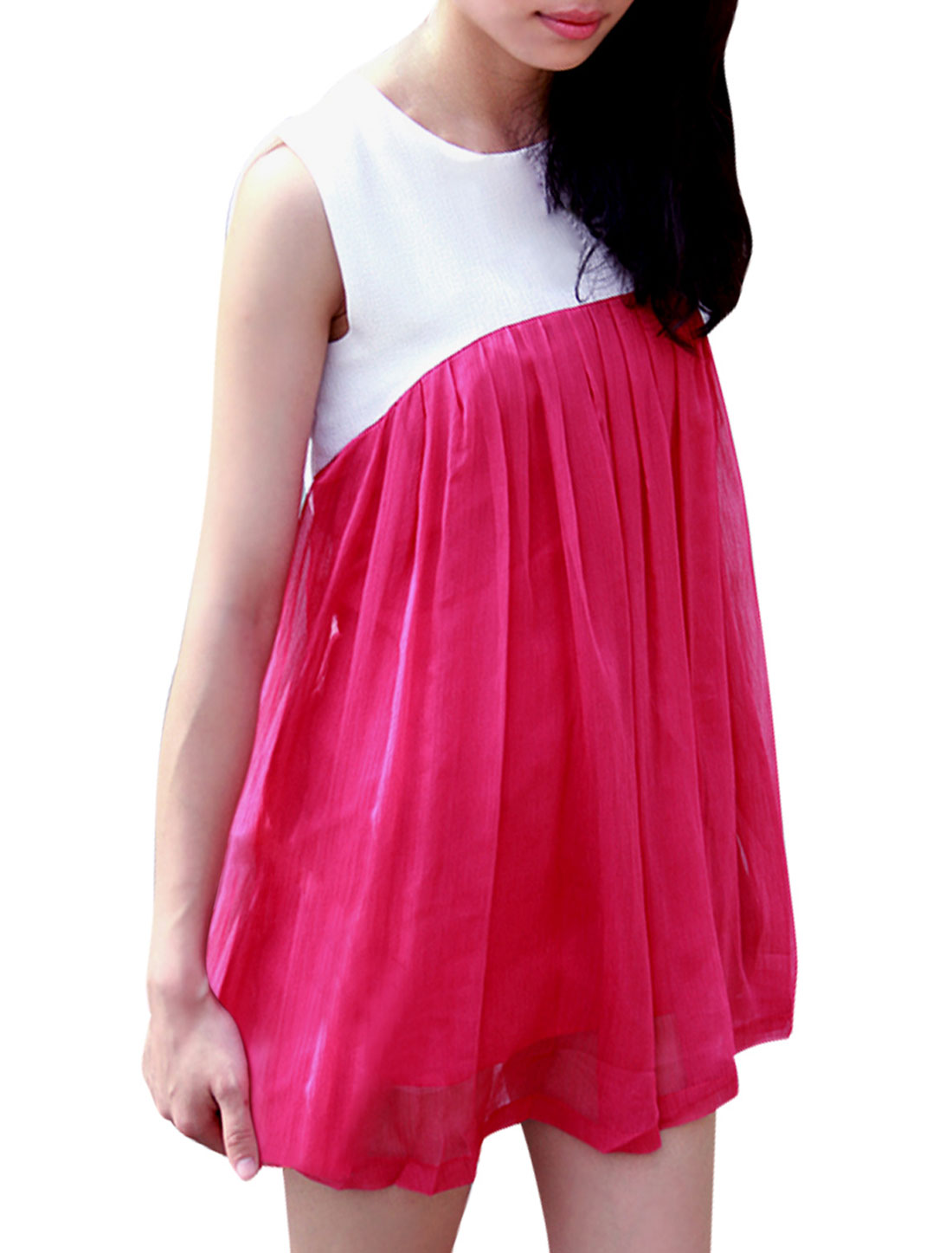 Women Sleeveless Spliced Chiffon Above Knee Dress Fuchsia XS