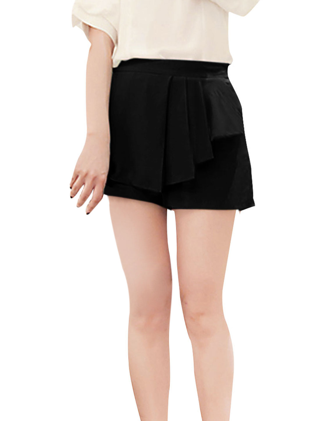 Women Stylish Slant Pockets Fashion Chiffon Short Trousers Black XS