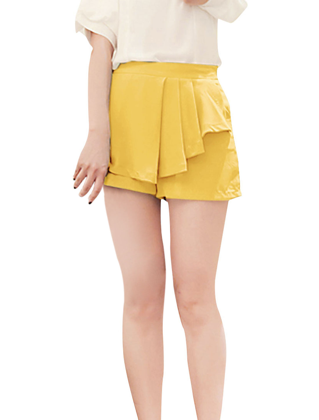 Ladies Zipper Side Solid Color Hot Chic Mini Short Pants Yellow XS