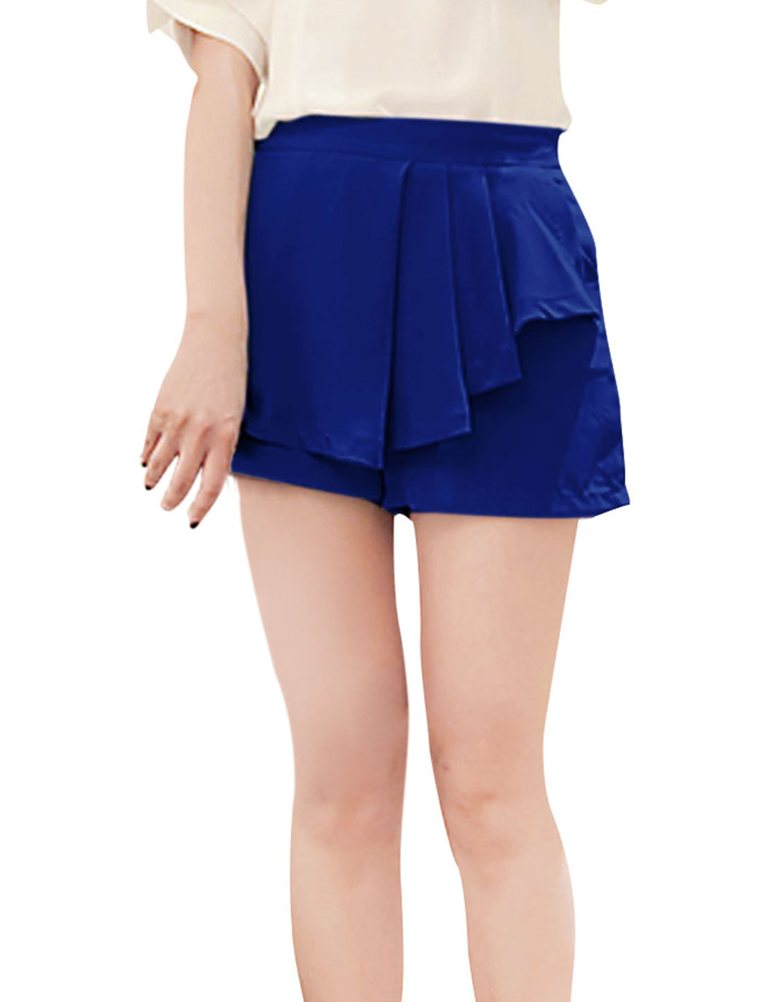 Ladies High Waist Pockets Decor Zipper Side Chiffon Shorts Blue XS