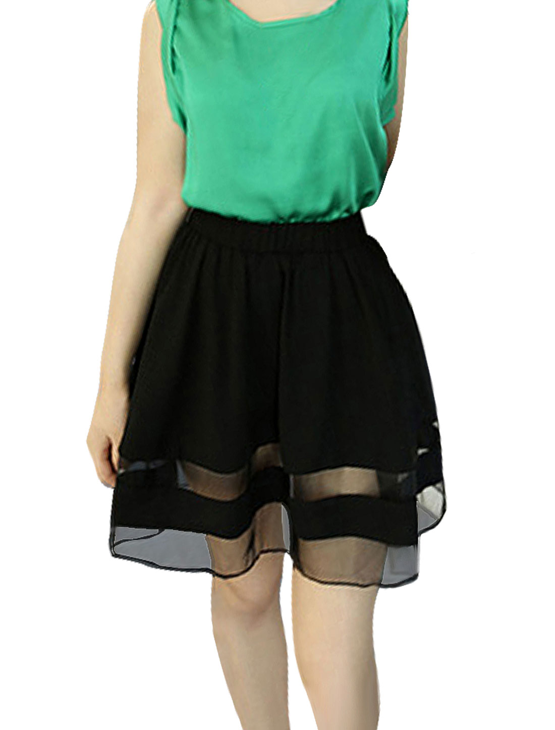 Women High Waist A Line Panel Mesh Mini Sexy Skirt Black XS