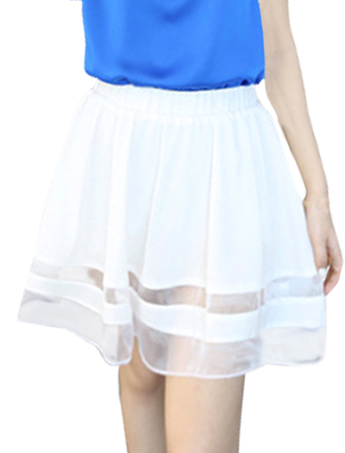 Ladies Chiffon Thigh High Stretchy Waist Casual Skirts White XS